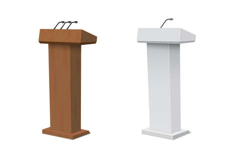Vector Podium Tribune Rostrum Stand with Microphones Isolated.