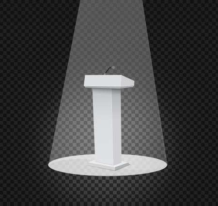 tribune: Vector Podium Tribune Rostrum Stand with Microphones Isolated.