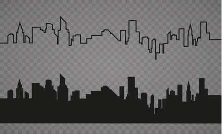 フラット スタイルの都市のシルエット。現代の都市 landscape.vector の図。  イラスト・ベクター素材