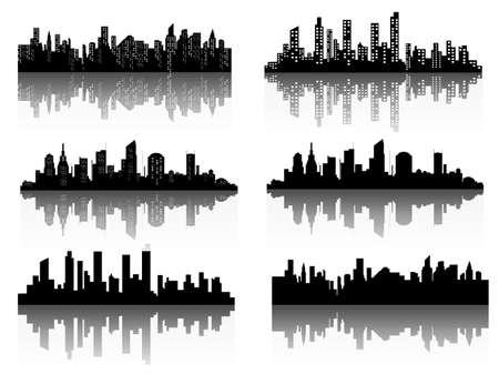 La silhouette della città in uno stile piatto. Illustrazione vettoriale paesaggio urbano moderno. Archivio Fotografico - 87895147