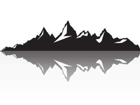 黒と白山のシルエットのセット。  イラスト・ベクター素材