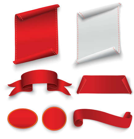 Red and white realistic ribbon template. Illustration