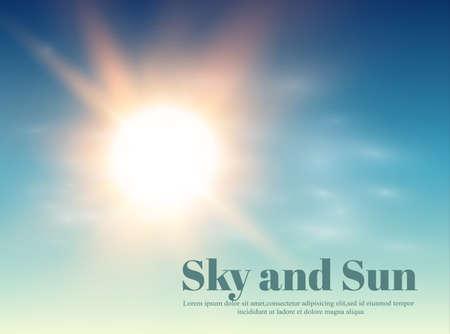 The sun in blue sky illustration.