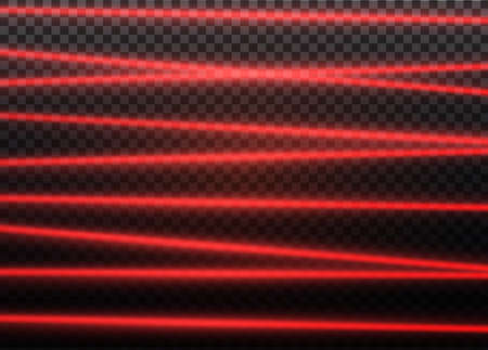 Abstract red laser beam  Transparent isolated on black background. Vector illustration. Illustration