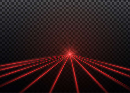 Abstract red laser beam. Transparent isolated on black background. 向量圖像