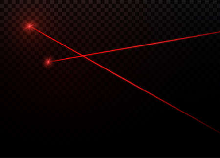 Abstract red laser beam  Transparent isolated on black background. Vector illustration.  イラスト・ベクター素材