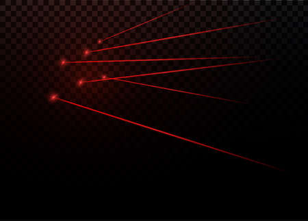 Abstract red laser beam. Transparent isolated on black background. Vector illustration.the lighting effect.floodlight directional. Ilustração