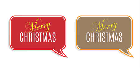 red realistic detailed curved paper merry christmas banner isolated on white background vector illustration