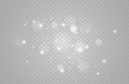 White sparks and golden stars glitter special light effect vector sparkles on transparent background. Christmas abstract pattern sparkling magic dust particles.