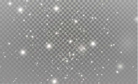 Des étincelles blanches et des étoiles dorées scintillent de vecteur d'effet de lumière spécial scintille sur fond transparent. Modèle abstrait de Noël, particules de poussière magique étincelante.