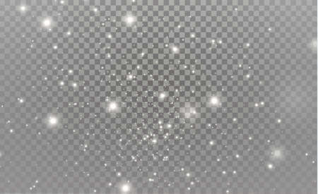 White sparks and golden stars glitter special light effect vector sparkles on transparent background. Christmas abstract pattern, sparkling magic dust particles.