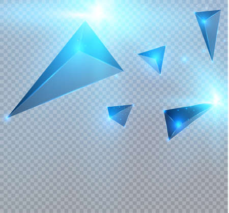 Realistic triangles and light effects. 3D effect.motion of flying triangles. Vector illustration. Illustration