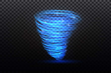A glowing tornado. Rotating wind. Beautiful wind effect. Isolated on a transparent background. Vector illustration Иллюстрация