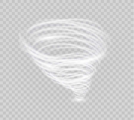 A glowing tornado. Rotating wind. Beautiful wind effect. Isolated on a transparent background. Vector illustration