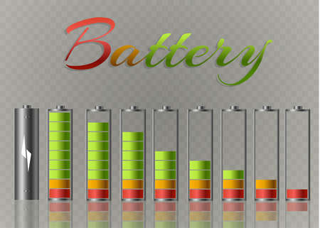 Battery charger with finger low batteries and indicators, high vector isolated.vector illustration.