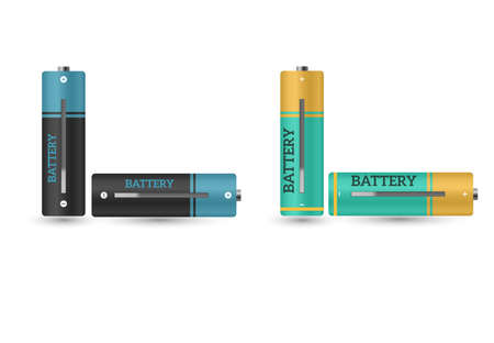 Battery charger with finger low batteries and indicators, high vector isolated.vector illustration