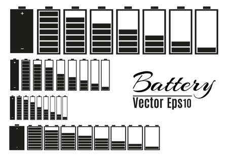 Battery charger with finger low batteries and indicators, high vector isolated.vector illustration Archivio Fotografico - 96966897