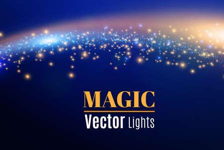 Blauwe vonken en sterren schitteren speciaal lichteffect. Sprankelende magische stofdeeltjes. Licht flare speciaal effect met lichtstralen en magische sprankelingen. Gloed transparante vector, explosie, glitter