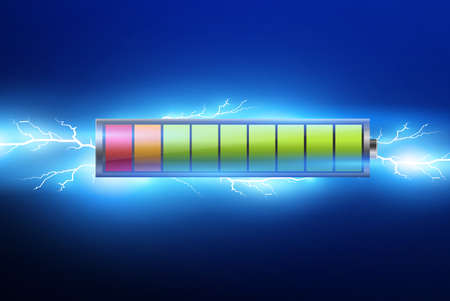 batteries with electric charge,pulse.lightning and electricity.vector illustration.