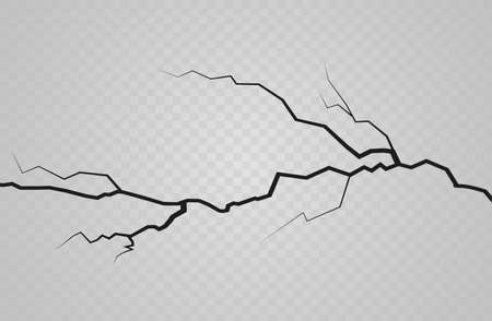 Set of vector cracks isolated on transparent background