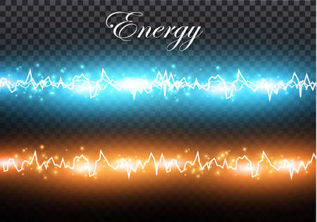 A set of lightning Magic and bright light effects. Vector illustration. Discharge electric current. Charge current. Natural phenomena Illustration