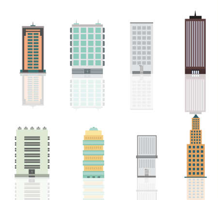 Buildings and skyscrapers set. Modern urban landscape.