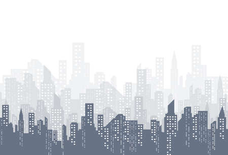 The silhouette of the city in a flat style. Modern urban landscape. Vector illustration.  イラスト・ベクター素材