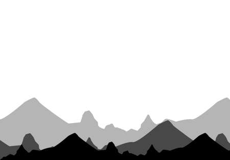 Set of black and white mountain silhouettes.