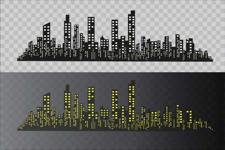 The silhouette of the city in a flat style. Modern urban landscape. vector illustration.