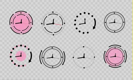 Clock icons set in trendy flat style 일러스트