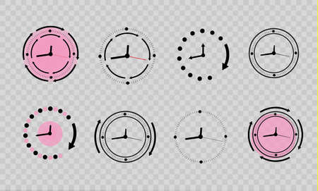 Clock icons set in trendy flat style Vettoriali