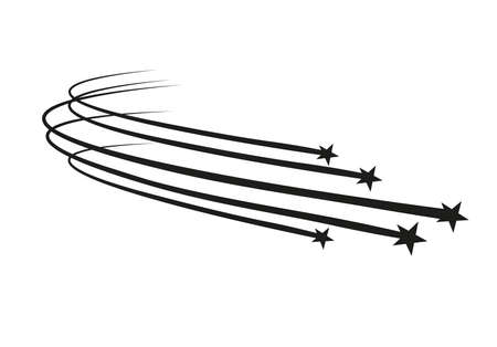 Abstract Falling Star Vector - Black Shooting Star with Elegant Star Trail on White Background. Foto de archivo - 100623786