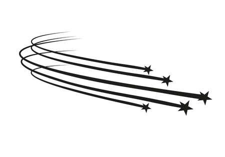 Vector de estrella fugaz abstracta - estrella fugaz negra con elegante rastro de estrellas sobre fondo blanco. Ilustración de vector