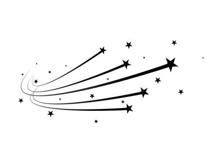 Abstract Falling Star Vector - Black Shooting Star with Elegant Star Trail on White Background. Vectores