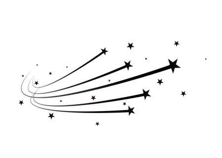 Abstract Falling Star Vector - étoile filante noire avec élégant Star Trail sur fond blanc.