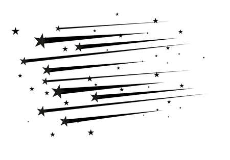 Abstract Falling Star Vector - Black Shooting Star with Elegant Star Trail on White Background. Vettoriali