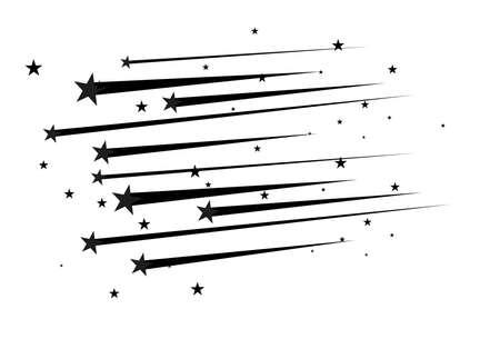 Vector de estrella fugaz abstracta - estrella fugaz negra con elegante rastro de estrellas sobre fondo blanco.