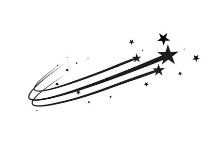 Abstract Falling Star Vector - Black Shooting Star with Elegant Star Trail on White Background. Çizim