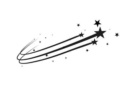 Vettore astratto della stella cadente - Stella cadente nera con elegante traccia della stella su fondo bianco. Vettoriali
