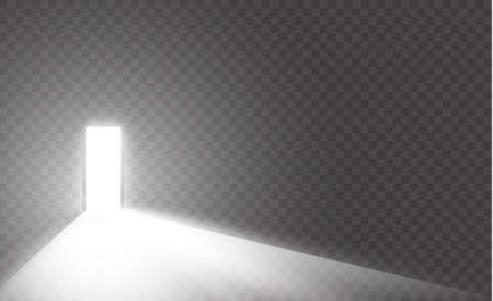Apri la porta in una stanza buia con la luce che la attraversa. La luce entra attraverso la fessura su uno sfondo trasparente