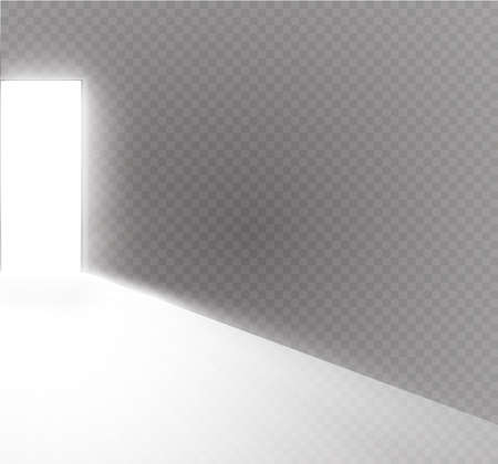 Open the door in a dark room with light passing through it. Light enters through the gap on a transparent background