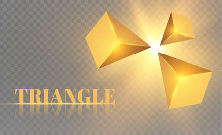 Yellow realistic triangles and golden light effects. 3D effect motion of flying triangles vector illustration. For cover book, brochure, flyer, poster, magazine, CD cover design.