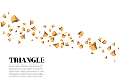 Yellow realistic triangles and golden light effects. 3D effect. Motion of flying triangles. Vector illustration. For cover book, brochure,  poster, magazine and cd cover design