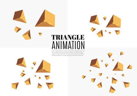 Yellow realistic triangles and golden light effects. 3D effect motion of flying triangles. Vector illustration. For cover book, brochure, poster, magazine and cd cover design Illustration