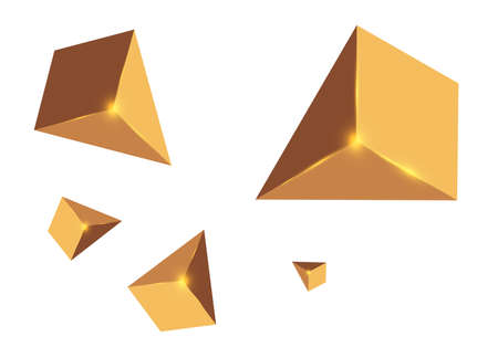 Yellow realistic triangles and golden light effects. 3D effect motion of flying triangles. Vector illustration. For cover book, brochure,  poster, magazine and cd cover design