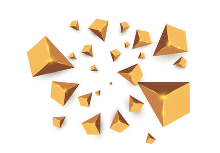 Yellow realistic triangles and golden light effects. 3D effect.motion of flying triangles. Vector illustration.For cover book, brochure, flyer, poster, magazine, cd cover design