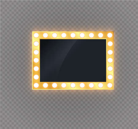 Illuminated realistic banner isolated on transparent background. Vector shine string bulbs. Las Vegas casino night party sign. Glowing lights billboard for advertising design Illustration