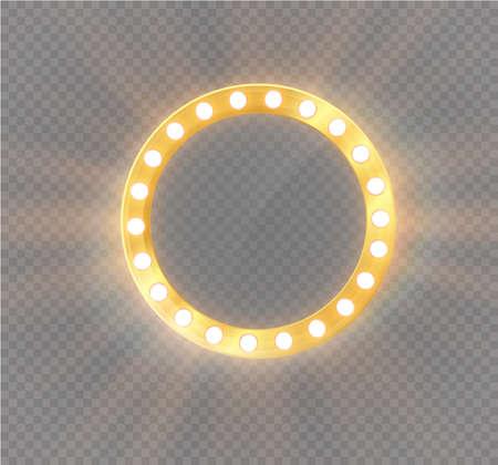 Glühender Make-up-Rundspiegel isoliert mit Goldlichtillustration. Vektorgrafik