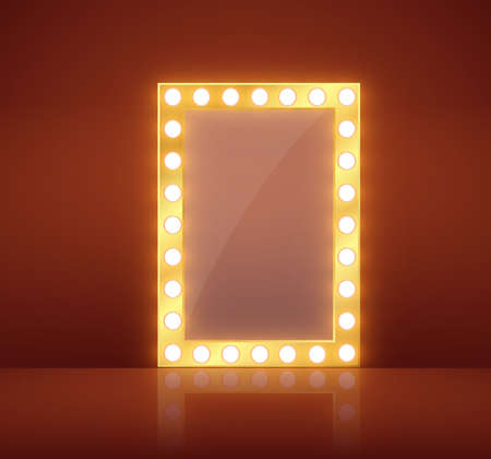 Makeup mirror isolated with gold lights. Vector illustration.