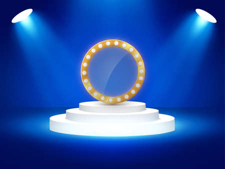 Stage podium with lighting, Stage Podium Scene with for Award Ceremony on blue Background, Vector illustration Illustration